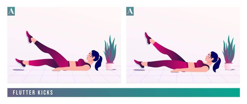 FLUTTER KICKS exercise, Women workout