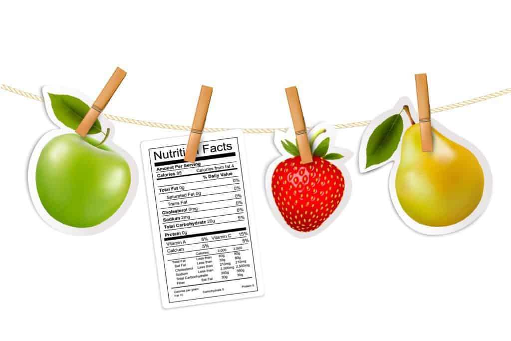 Fruit stickers and a nutrition label hanging on a rope