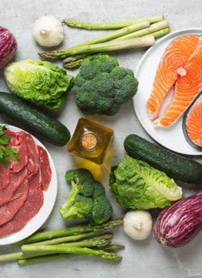 Atkins Diet food ingredients on concrete background