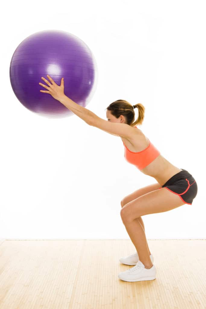 stability ball:Overhead Ball Squats