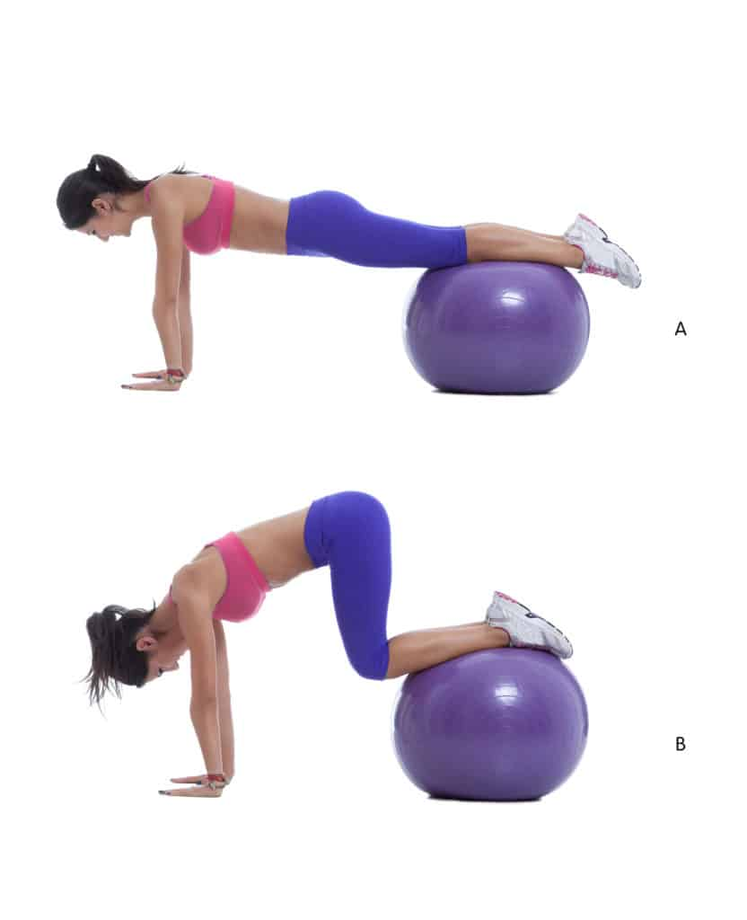 stability ball knee tuck