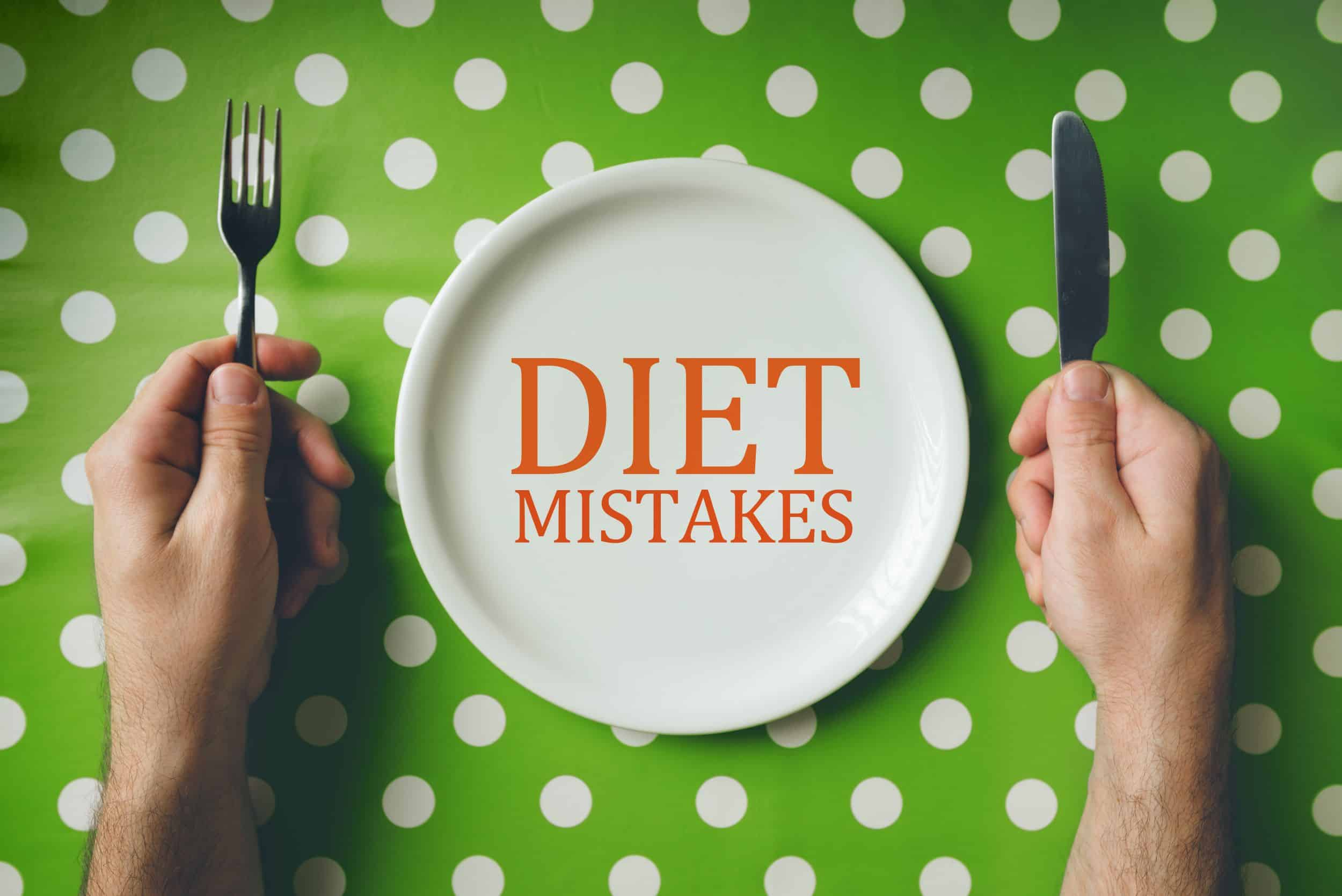 Diet mistakes concept, top view of dinning table
