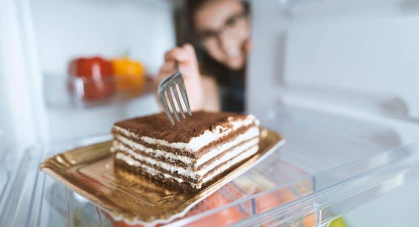 Delicious dessert in the fridge