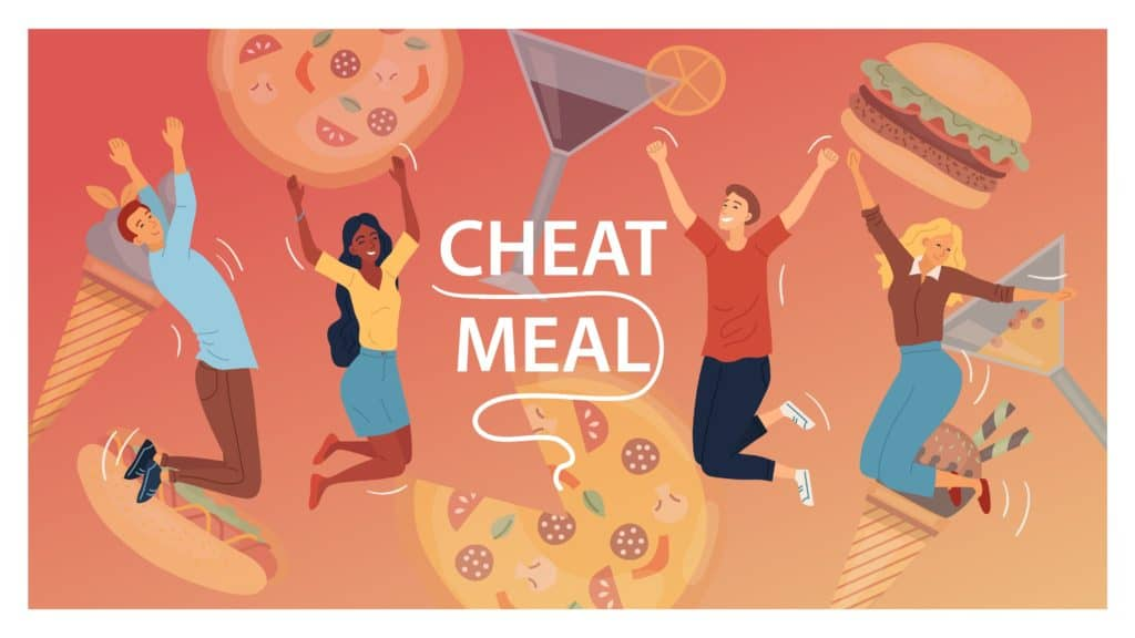 Cheat Meal Concept. Multiracial Happy People, Are Jumping Of Happy Among Junk Food. Cocktails, Pizza, Ice cream, Hamburger, Hot Dog. People Eat Fast Food. Cartoon Flat Style