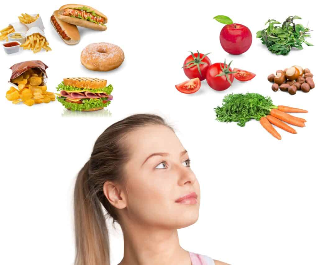 Woman with different types of food