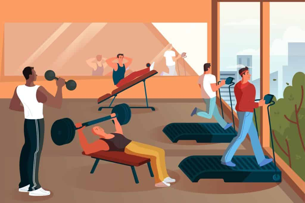 Group of people training in the gym. Lifting weight and doing exercise.
